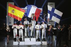 Podium: winners Sébastien Ogier and Julien Ingrassia, second place Daniel Sordo and Carlos del Barrio, third place Jari-Matti Latvala and Miikka Anttila