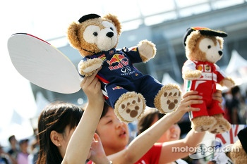 Red Bull Racing and Ferrari mascots