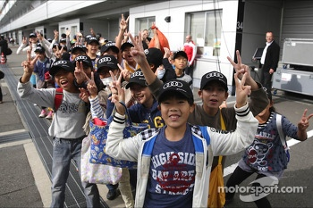 School children visit the track