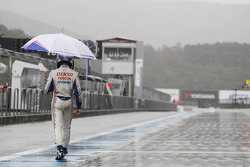 Anthony Davidson after the race was stopped due to heavy rain