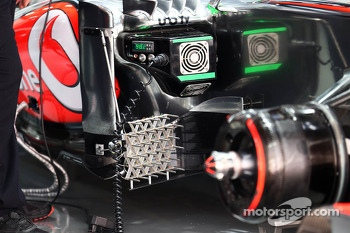 McLaren MP4-28 running sensor equipment on the sidepod