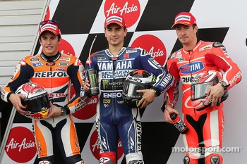 Polesitter Jorge Lorenzo, second place Marc Marquez, third place Nicky Hayden