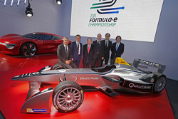 Alain Prost and Jean-Paul Driot with Jean Todt, FIA President, and Alejandro Agag, co-founder of Formula E Championship