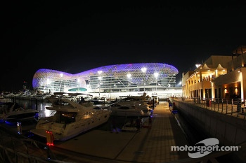 The Marina and Yas Viceroy Hotel at night