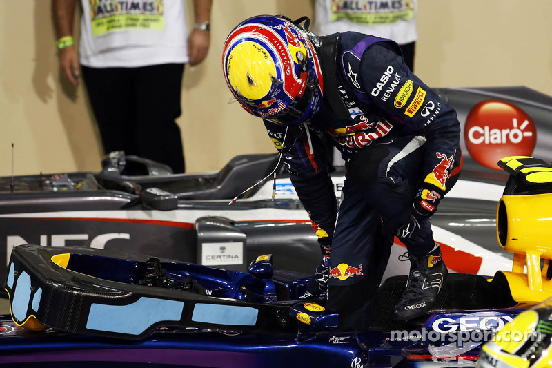 pole sitter Mark Webber, Red Bull Racing RB9 in parc ferme