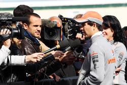 Sergio Perez, McLaren with the media