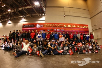 The drivers with some young fans