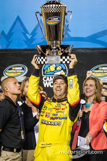 Championship victory lane: NASCAR Camping World Truck Series 2013 champion Matt Crafton celebrates