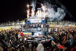 Championship victory lane: NASCAR Nationwide Series 2013 champion Austin Dillon celebrates