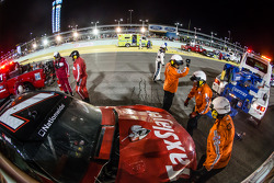Safety crew at work after the crash of Jeremy Clements and Regan Smith