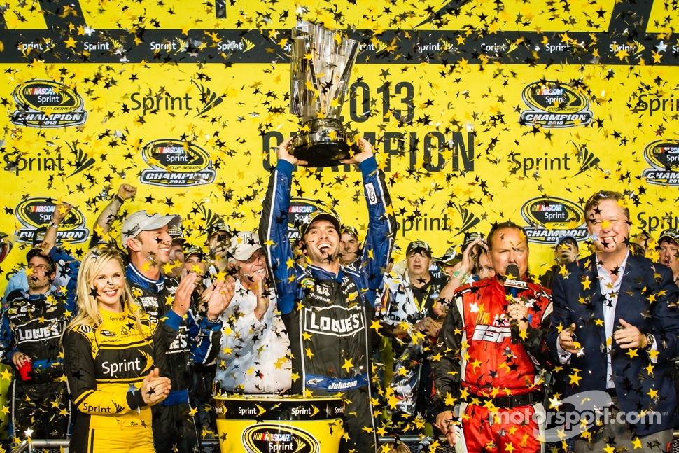 Championship victory lane: NASCAR Sprint Cup Series 2013 champion 2013 Jimmie Johnson, Hendrick Motorsports Chevrolet celebrates