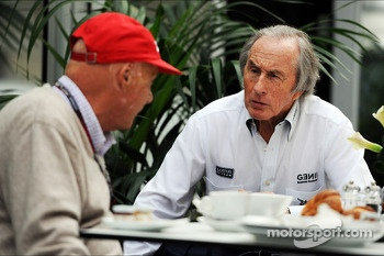 (L to R): Niki Lauda, Mercedes Non-Executive Chairman with Jackie Stewart (GBR)