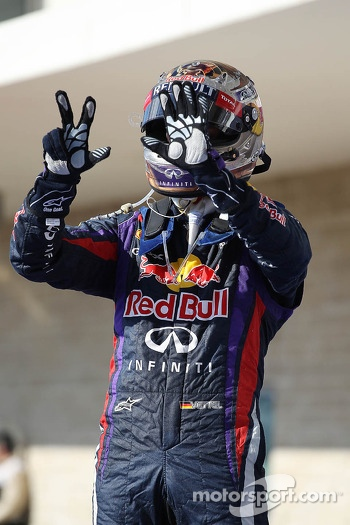 Sebastian Vettel, Red Bull Racing RB9 celebrates his 8th consecutive win in parc ferme