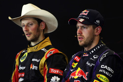 The FIA Press Conference: Romain Grosjean Lotus F1 Team, second; Sebastian Vettel, Red Bull Racing, race winner