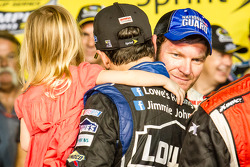 Championship victory lane: NASCAR Sprint Cup Series 2013 champion 2013 Jimmie Johnson, Hendrick Motorsports Chevrolet celebrates with Dale Earnhardt Jr., Hendrick Motorsports Chevrolet