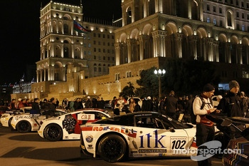 Downtown Baku night parade