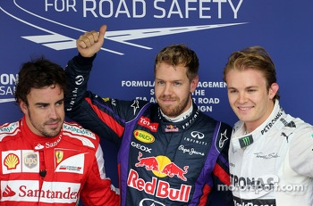 Fernando Alonso, Scuderia Ferrari, Sebastian Vettel, Red Bull Racing and Nico Rosberg, Mercedes GP