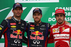1st place Sebastian Vettel, Red Bull Racing, 2nd place Mark Webber, Red Bull Racing and 3rd Fernando Alonso, Ferrari F138