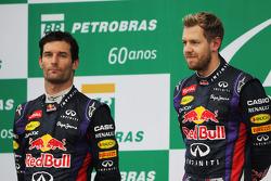 The podium: second place Mark Webber,  Red Bull Racing with team mate, race winner, Sebastian Vettel, Red Bull Racing