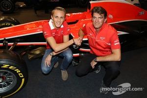Max Chilton and Graeme Lowdon, head of Marussia F1