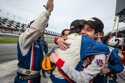 Race winner Christian Fittipaldi celebrates with Burt Frisselle