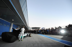 (L to R): Lewis Hamilton, Mercedes AMG F1 and team mate Nico Rosberg, Mercedes AMG F1 unveil the new Mercedes AMG F1 W05