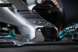 The unveiling of the new Mercedes AMG F1 W05 - front wing and nosecone detail