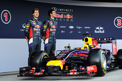 (L to R): Sebastian Vettel, Red Bull Racing and team mate Daniel Ricciardo, Red Bull Racing at the unveiling of the Red Bull Racing RB10