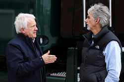 (L to R): Charlie Whiting, FIA Delegate with Damon Hill, Sky Sports Presenter