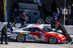 Pit stop for #58 Snow Racing Porsche 911 GT America Porsche: Madison Snow, Jan Heylen, Marco Seefried