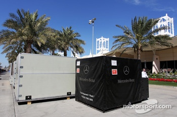 Mercedes AMG F1 freight is packed up in the paddock