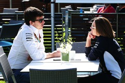 Toto Wolff, Mercedes AMG F1 Shareholder and Executive Director with Claire Williams, Williams Deputy Team Principal