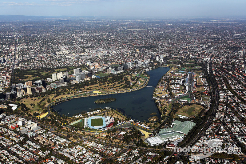 An aerial view of the Albert Park Circuit