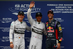 Pole position for Lewis Hamilton, Mercedes AMG F1 W05, 2nd for Daniel Ricciardo, Red Bull Racing RB10 and 3rd place for Nico Rosberg, Mercedes AMG F1 W05