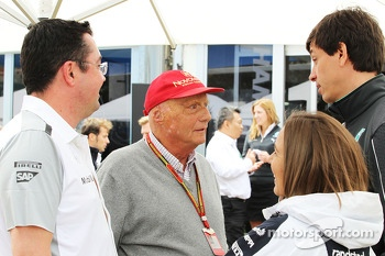 (L to R): Eric Boullier, McLaren Racing Director with Niki Lauda, Mercedes Non-Executive Chairman, Claire Williams, Williams Deputy Team Principal and Toto Wolff, Mercedes AMG F1 Shareholder and Executive Director