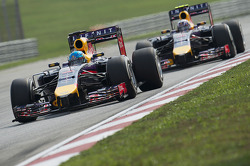 Sebastian Vettel, Red Bull Racing RB10 leads Daniel Ricciardo, Red Bull Racing RB10