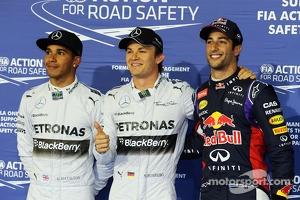 Polesitter Nico Rosberg, second place Lewis Hamilton, third place Daniel Ricciardo