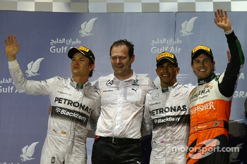 1st place Lewis Hamilton, Mercedes AMG F1, 2nd place Nico Rosberg, Mercedes AMG F1 and 3rd place Sergio Perez, Sahara Force India F1