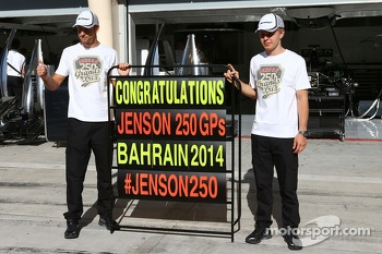 Jenson Button, McLaren celebrates his 250th GP with his team mate Kevin Magnussen, McLaren