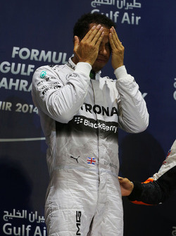 Race winner Lewis Hamilton, Mercedes AMG F1 on the podium