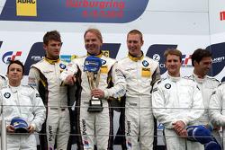 Podium: second place Claudia Hurtgen, Jens Klingmann, Dominik Baumann, winners Maxime Martin, Uwe Alzen, Marco Wittmann, third place, Dirk Muller, Dirk Werner, Lucas Luhr, Alexander Sims