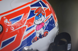 Papa Smurf tribute on the helmet of Jenson Button, McLaren for his father John Button