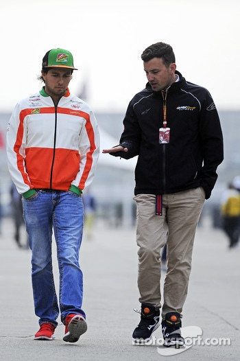 (L to R): Sergio Perez, Sahara Force India F1 with Will Buxton, NBS Sports Network TV Presenter