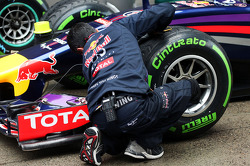 Red Bull Racing mechanic with a Red Bull Racing RB10 in parc ferme