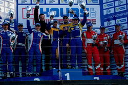 GTC podium: winners Andriy Kruglyk, Sergii Chukanov, Alessandro Pier Guidi, second place Olivier Beretta, David Markozov, Anton Ladygin, third place Jan Magnussen, Johnny Laursen, Mikkel Mac Jensen