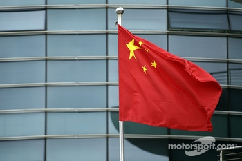 Chinese flag in the paddock.
