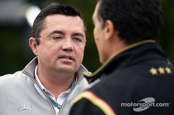 Eric Boullier, McLaren Racing Director with Federico Gastaldi, Lotus F1 Team Deputy Team Principal.