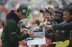 Kamui Kobayashi, Caterham on the drivers parade.