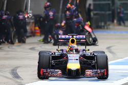 Sebastian Vettel, Red Bull Racing RB10 makes a pit stop