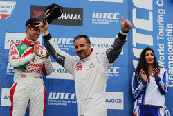 Second place Yvan Muller, Citroën C-Elysee WTCC, Citroën Total WTCC and third place Tiago Monteiro, Honda Civic WTCC, Castrol Honda WTCC Team with 1st position Yokohama Trophy Franz Engstler, 320 TC, Liqui Moly Team Engstler